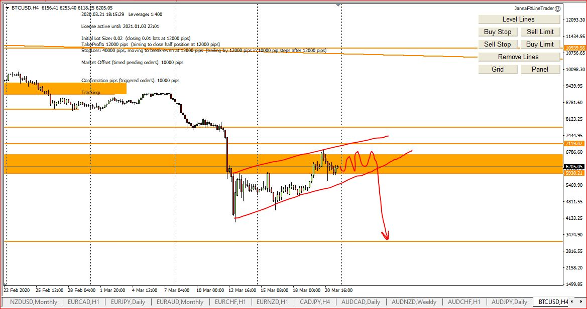 My Weekly Forex Technical Analysis, 22d - 27th March 2020, Bitcoin, Crude Oil